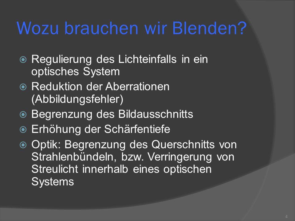 Wozu brauchen wir Blenden? Regulierung des Lichteinfalls in ein optisches System Reduktion der Aberrationen (Abbildungsfehler) Begrenzung des Bildauss