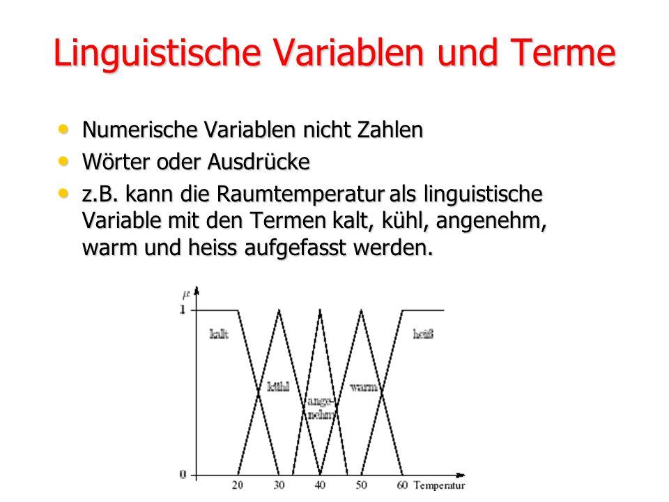 Fuzzy-Relation Beispiel U1= U2 sei eine Menge von Personen {Peter, Thomas, Hans, Klaus} und die unscharfe Relation grösser als. Peter = 1.90m Thomas =
