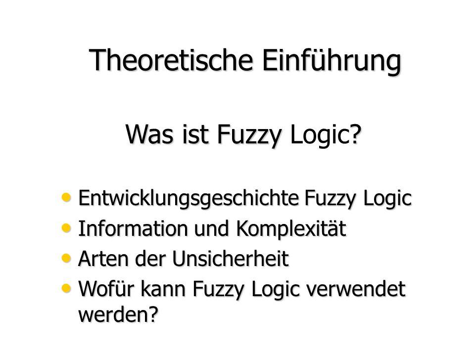 Inhalt Theoretische Einführung Theoretische Einführung Praktische Beispiele Praktische Beispiele Neuronale Netze und Fuzzy Logic, FuzzyTECH Anwendung