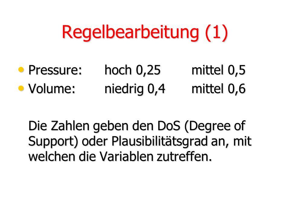 Fuzzifizierung (2) Volume:niedrig 0,4mittel 0,6 8