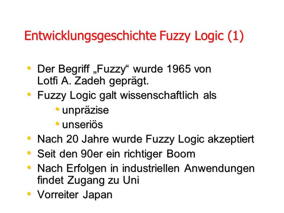 In beinahe jedem Fall kann man dasselbe Produkt ohne Fuzzy Logic herstellen, aber Fuzzy Logic ist schneller und billiger. Prof. Lotfi Zadeh, UC Berkel
