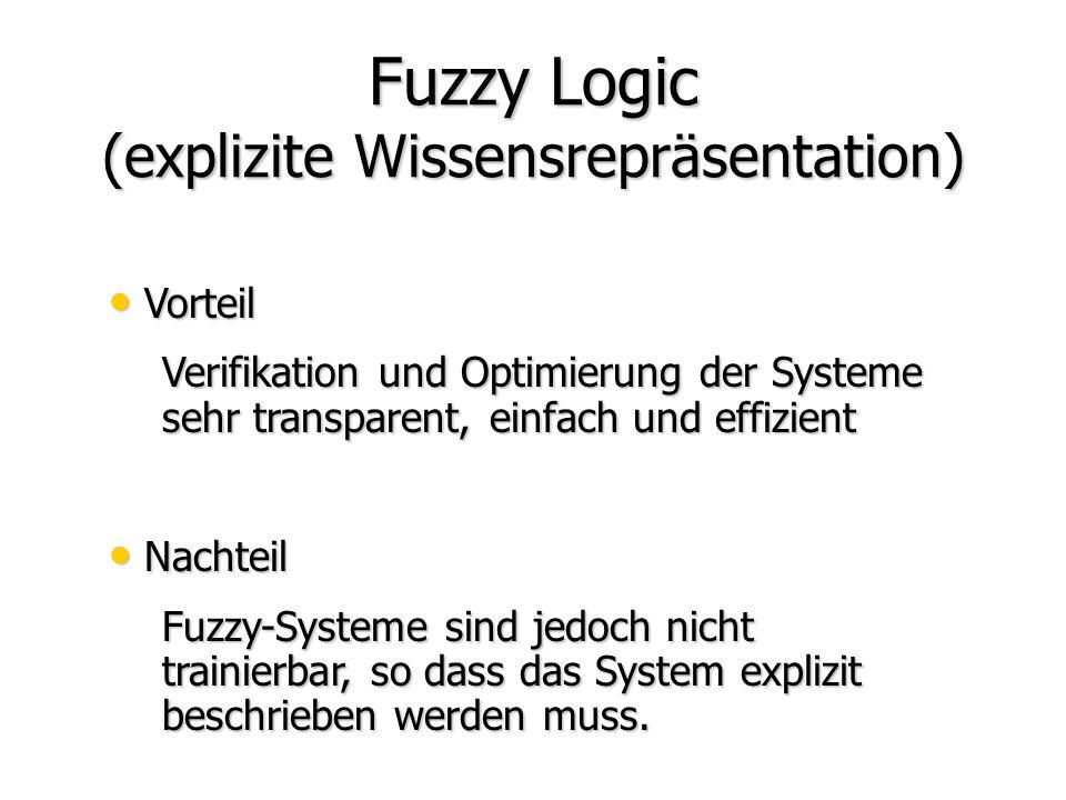 Fuzzy Logic (explizite Wissensrepräsentation) Fuzzy Logic (explizite Wissensrepräsentation) Neuronale Netze (implizite Wissensrepräsentation) Neuronal