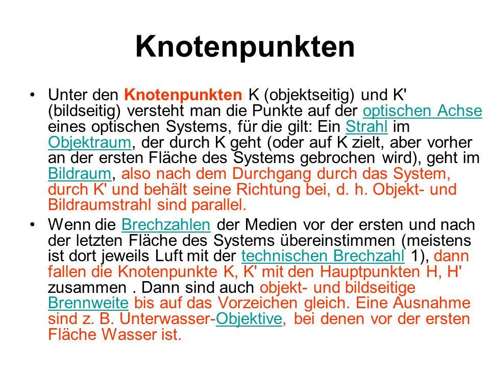 Knotenpunkten Unter den Knotenpunkten K (objektseitig) und K' (bildseitig) versteht man die Punkte auf der optischen Achse eines optischen Systems, fü
