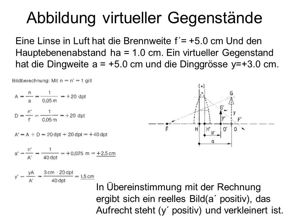 Abbildung virtueller Gegenstände In Übereinstimmung mit der Rechnung ergibt sich ein reelles Bild(a´ positiv), das Aufrecht steht (y´ positiv) und ver