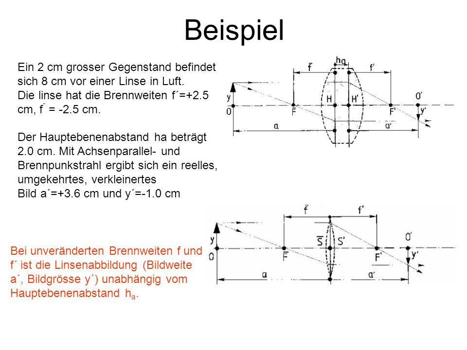 Beispiel Ein 2 cm grosser Gegenstand befindet sich 8 cm vor einer Linse in Luft. Die linse hat die Brennweiten f´=+2.5 cm, f - = -2.5 cm. Der Hauptebe