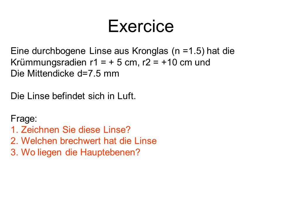 Exercice Eine durchbogene Linse aus Kronglas (n =1.5) hat die Krümmungsradien r1 = + 5 cm, r2 = +10 cm und Die Mittendicke d=7.5 mm Die Linse befindet