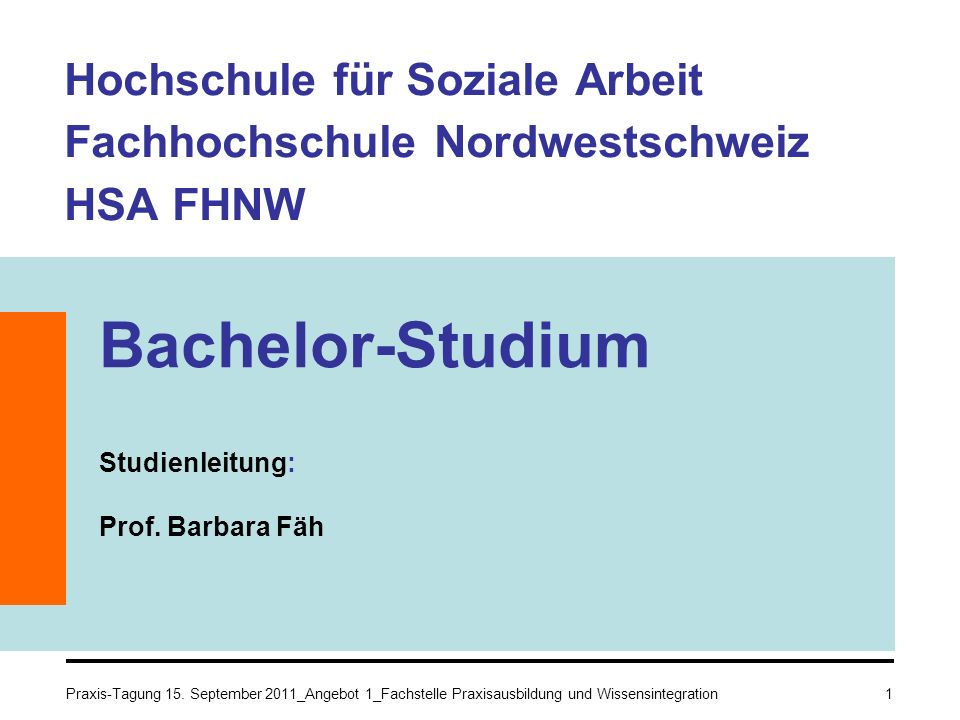 Hochschule für Soziale Arbeit Fachhochschule Nordwestschweiz HSA FHNW Bachelor-Studium Studienleitung: Prof. Barbara Fäh 1Praxis-Tagung 15. September