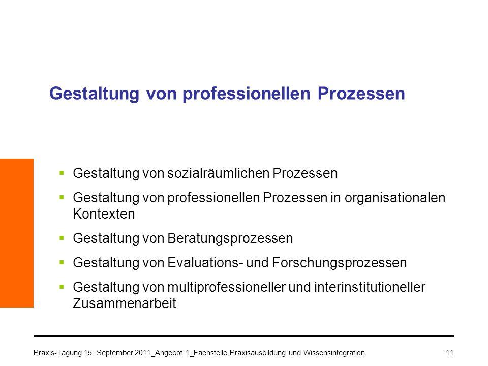 11 Gestaltung von professionellen Prozessen Gestaltung von sozialräumlichen Prozessen Gestaltung von professionellen Prozessen in organisationalen Kon