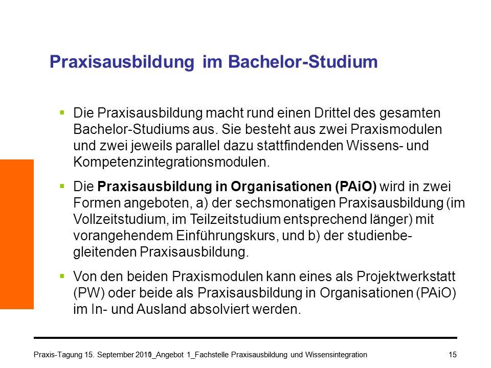Praxis-Tagung 15. September 2010_Angebot 1_Fachstelle Praxisausbildung und Wissensintegration15 Praxisausbildung im Bachelor-Studium Die Praxisausbild