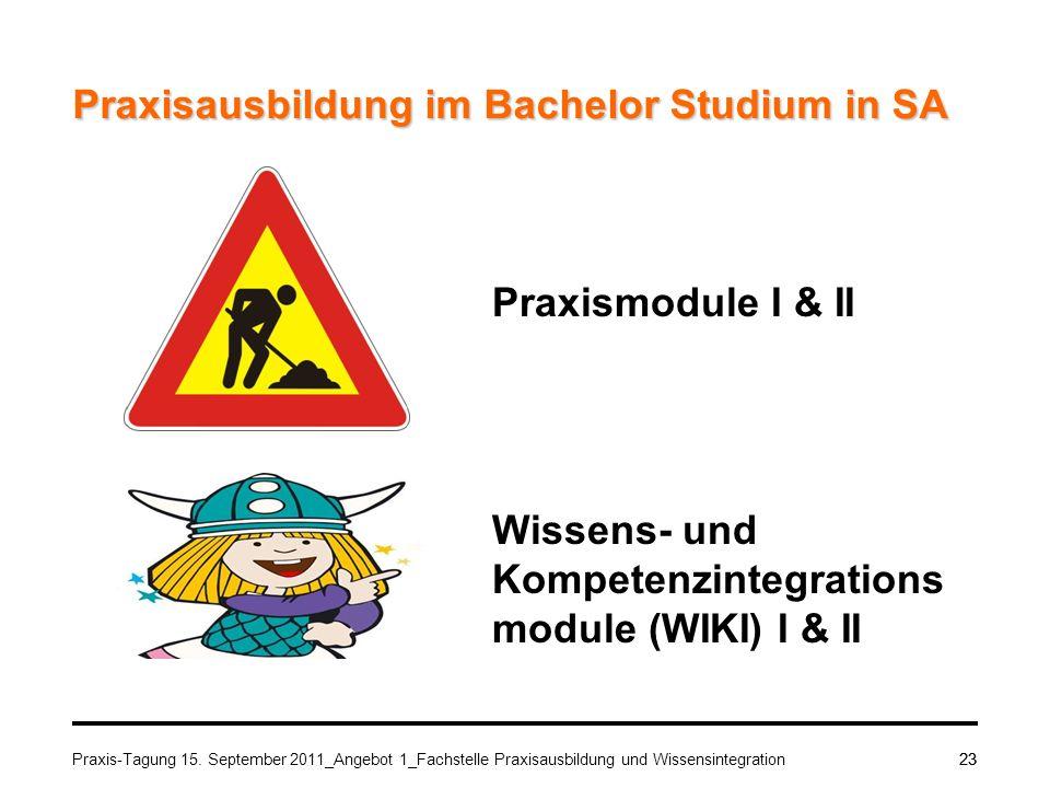 Praxis-Tagung 15. September 2011_Angebot 1_Fachstelle Praxisausbildung und Wissensintegration23 Praxisausbildung im Bachelor Studium in SA Praxismodul