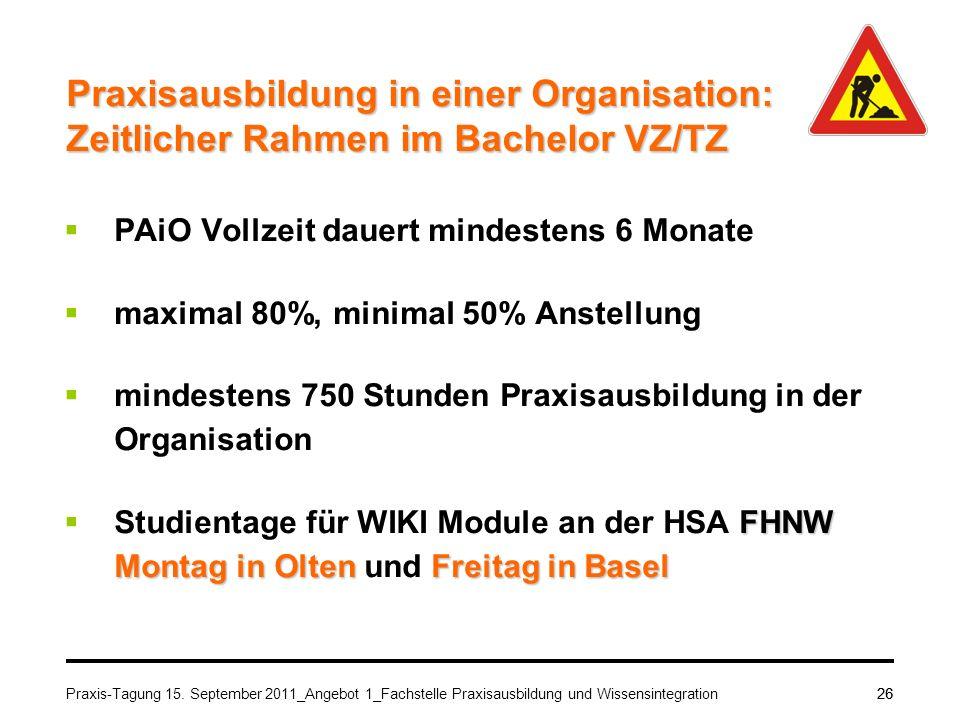 Praxis-Tagung 15. September 2011_Angebot 1_Fachstelle Praxisausbildung und Wissensintegration26 Praxisausbildung in einer Organisation: Zeitlicher Rah