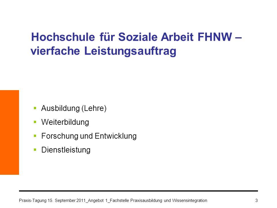 Praxis-Tagung 15. September 2011_Angebot 1_Fachstelle Praxisausbildung und Wissensintegration3 Hochschule für Soziale Arbeit FHNW – vierfache Leistung