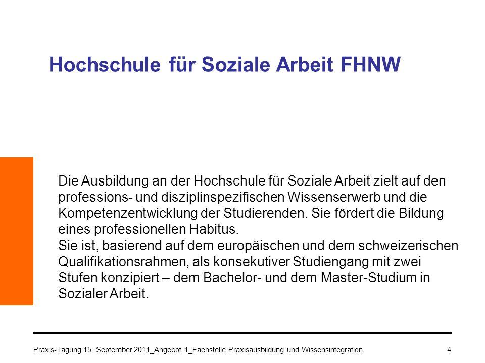 Praxis-Tagung 15. September 2011_Angebot 1_Fachstelle Praxisausbildung und Wissensintegration4 Hochschule für Soziale Arbeit FHNW Die Ausbildung an de
