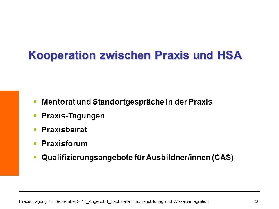 Praxis-Tagung 15. September 2011_Angebot 1_Fachstelle Praxisausbildung und Wissensintegration50 Kooperation zwischen Praxis und HSA Mentorat und Stand