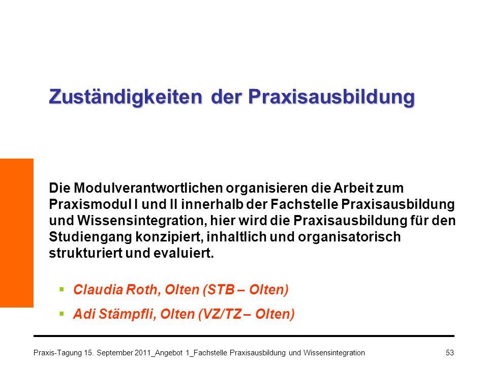 53 Zuständigkeiten der Praxisausbildung Die Modulverantwortlichen organisieren die Arbeit zum Praxismodul I und II innerhalb der Fachstelle Praxisausb