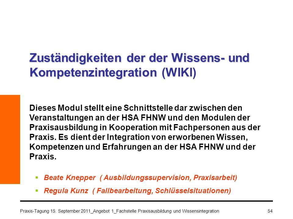 Praxis-Tagung 15. September 2011_Angebot 1_Fachstelle Praxisausbildung und Wissensintegration54 Zuständigkeiten der der Wissens- und Kompetenzintegrat
