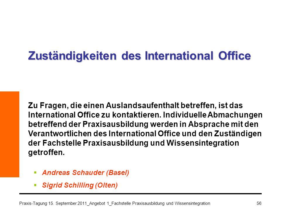 Praxis-Tagung 15. September 2011_Angebot 1_Fachstelle Praxisausbildung und Wissensintegration56 Zuständigkeiten des International Office Zu Fragen, di