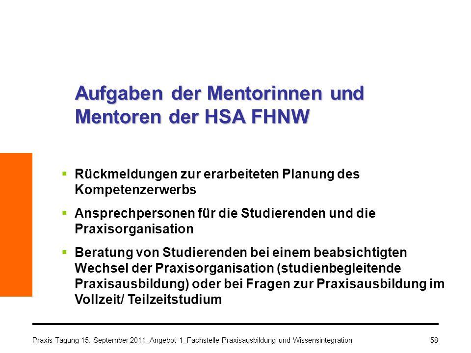 Praxis-Tagung 15. September 2011_Angebot 1_Fachstelle Praxisausbildung und Wissensintegration58 Aufgaben der Mentorinnen und Mentoren der HSA FHNW Rüc