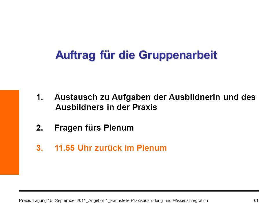 Praxis-Tagung 15. September 2011_Angebot 1_Fachstelle Praxisausbildung und Wissensintegration61 Auftrag für die Gruppenarbeit 1.Austausch zu Aufgaben