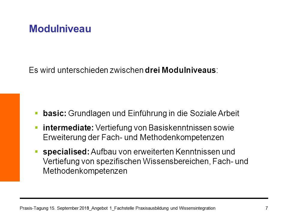 Praxis-Tagung 15. September 2010_Angebot 1_Fachstelle Praxisausbildung und Wissensintegration7 Modulniveau Es wird unterschieden zwischen drei Modulni