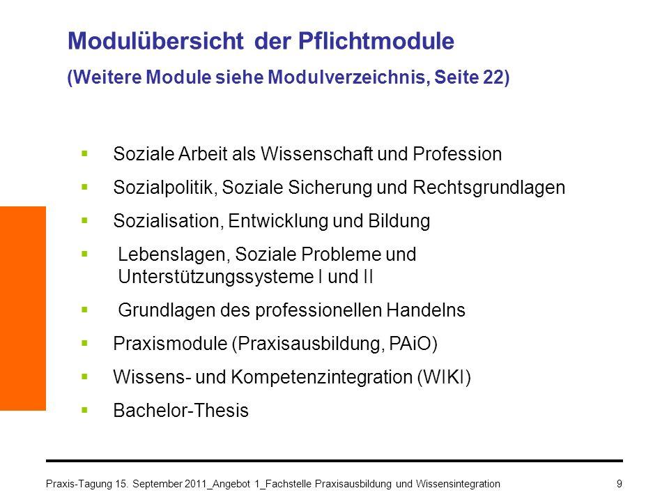 9 Modulübersicht der Pflichtmodule (Weitere Module siehe Modulverzeichnis, Seite 22) Soziale Arbeit als Wissenschaft und Profession Sozialpolitik, Soz