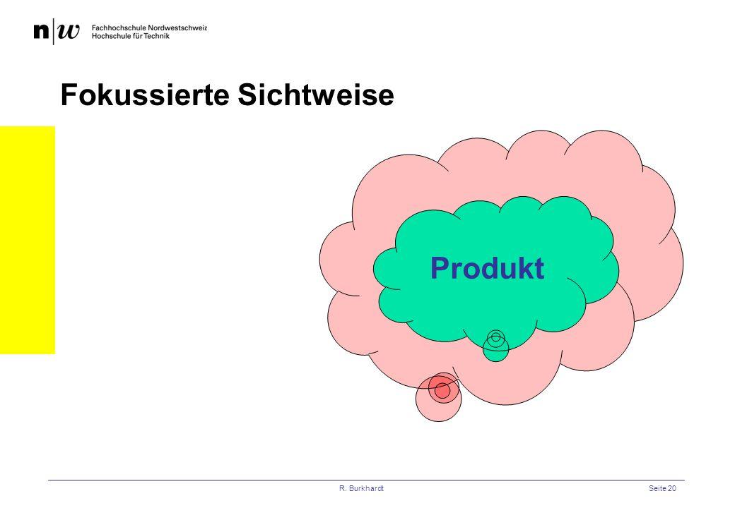 R. BurkhardtSeite 20 Projekt Fokussierte Sichtweise Produkt