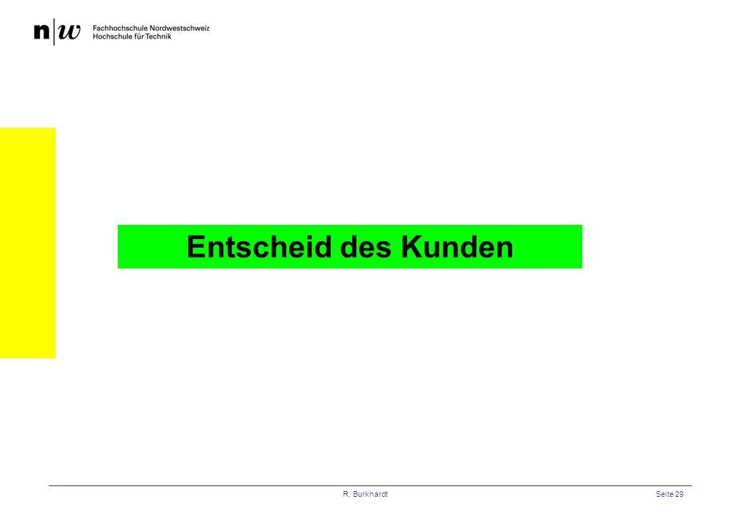 R. BurkhardtSeite 29 Entscheid des Kunden