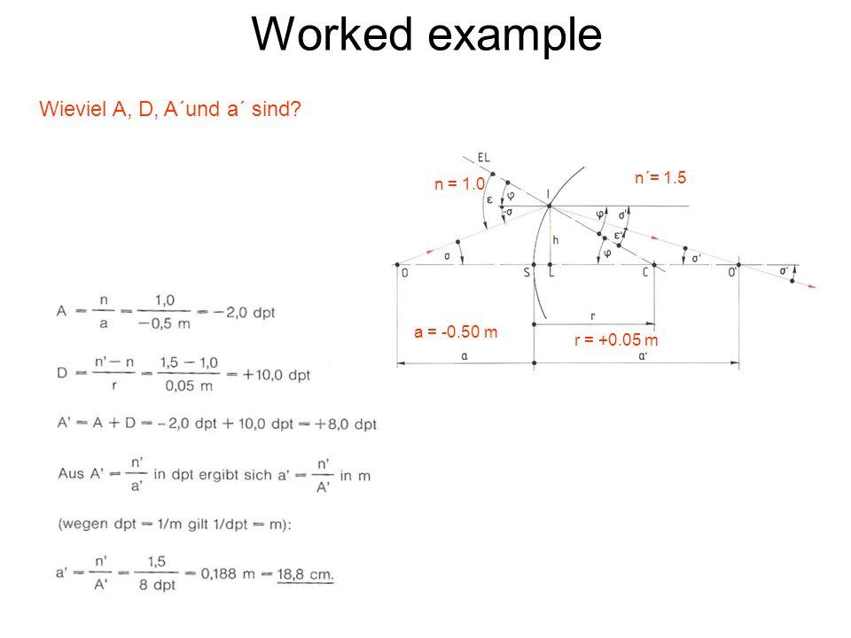 Worked example Wieviel A, D, A´und a´ sind? r = +0.05 m n´= 1.5 n = 1.0 a = -0.50 m