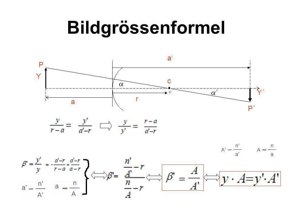 Bildgrössenformel P´ a a r c ° P Y Y´ ´