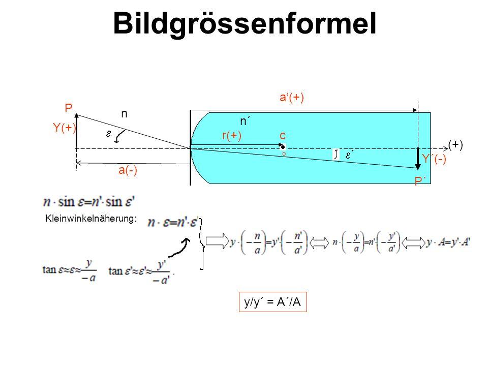 Bildgrössenformel P´ a(+) a(-) r(+) c ° P Y(+) Y´(-) n n´ ´ (+) Kleinwinkelnäherung: y/y´ = A´/A