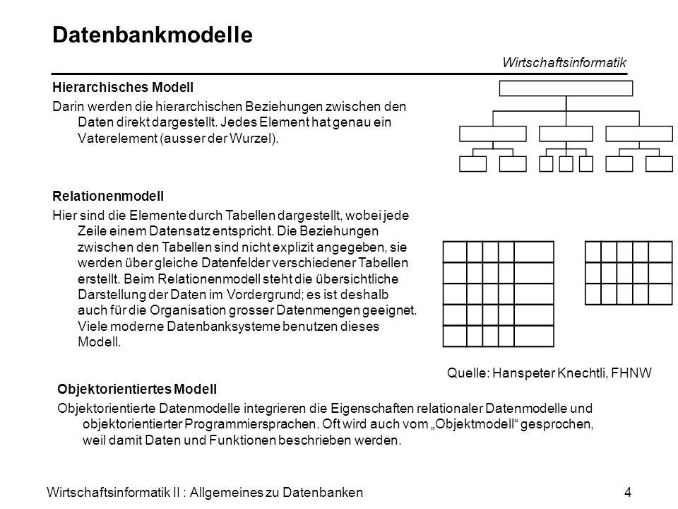 Wirtschaftsinformatik II : Allgemeines zu Datenbanken Wirtschaftsinformatik 4 Datenbankmodelle Hierarchisches Modell Darin werden die hierarchischen B