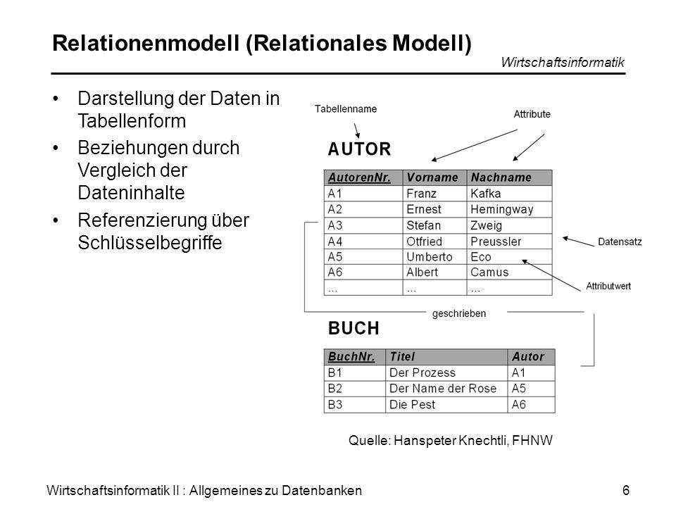 Wirtschaftsinformatik II : Allgemeines zu Datenbanken Wirtschaftsinformatik 7 Objektorientiertes Modell Anforderungen, welche über die Verarbeitung schriftlicher, formatierter Daten hinausgehen, können oft nur schlecht oder gar nicht von relationalen Datenbanken abgedeckt werden.