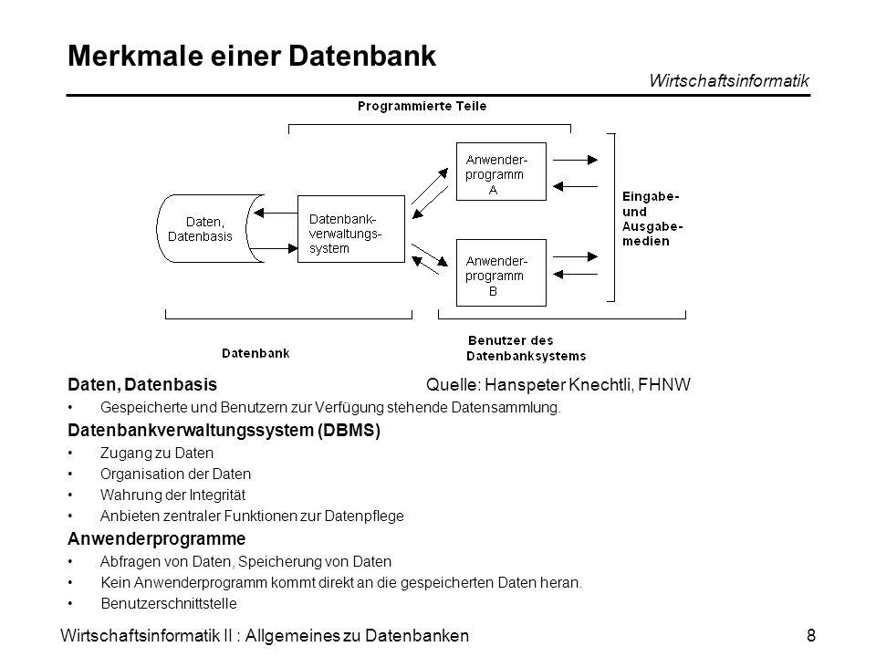 Wirtschaftsinformatik II : Allgemeines zu Datenbanken Wirtschaftsinformatik 8 Merkmale einer Datenbank Daten, Datenbasis Gespeicherte und Benutzern zu