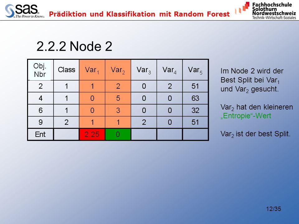 Prädiktion und Klassifikation mit Random Forest 12/35 2.2.2 Node 2 Im Node 2 wird der Best Split bei Var 1 und Var 2 gesucht. Var 2 hat den kleineren