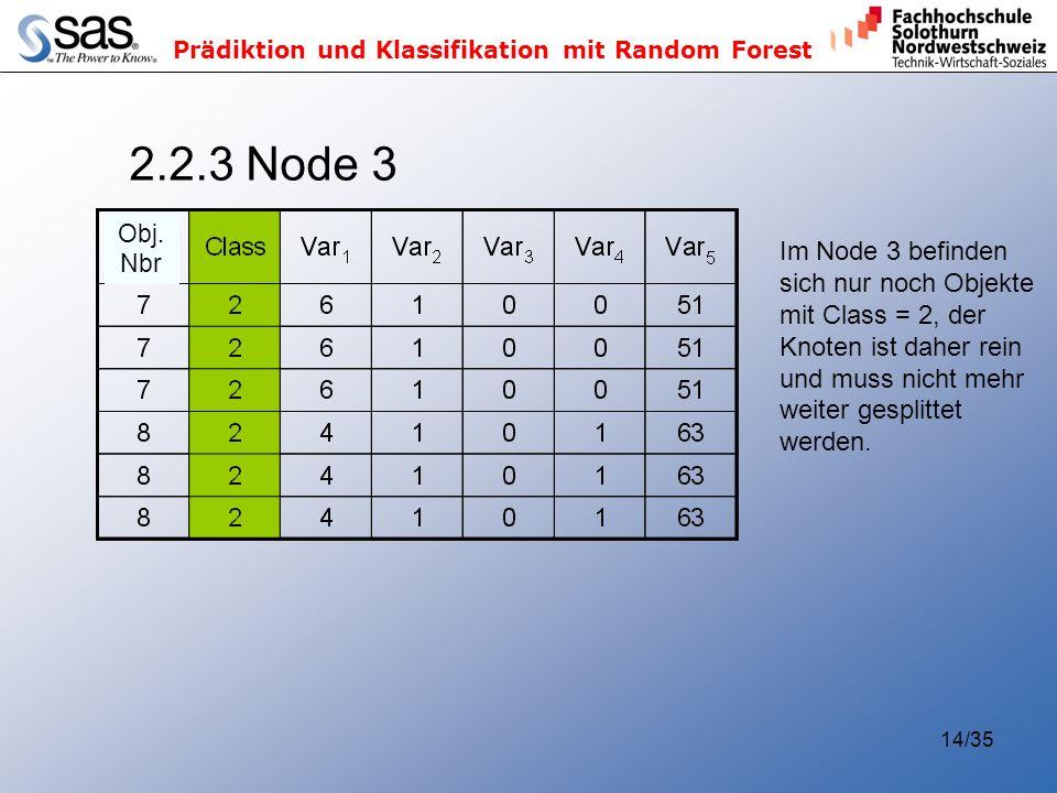 Prädiktion und Klassifikation mit Random Forest 14/35 2.2.3 Node 3 Im Node 3 befinden sich nur noch Objekte mit Class = 2, der Knoten ist daher rein und muss nicht mehr weiter gesplittet werden.