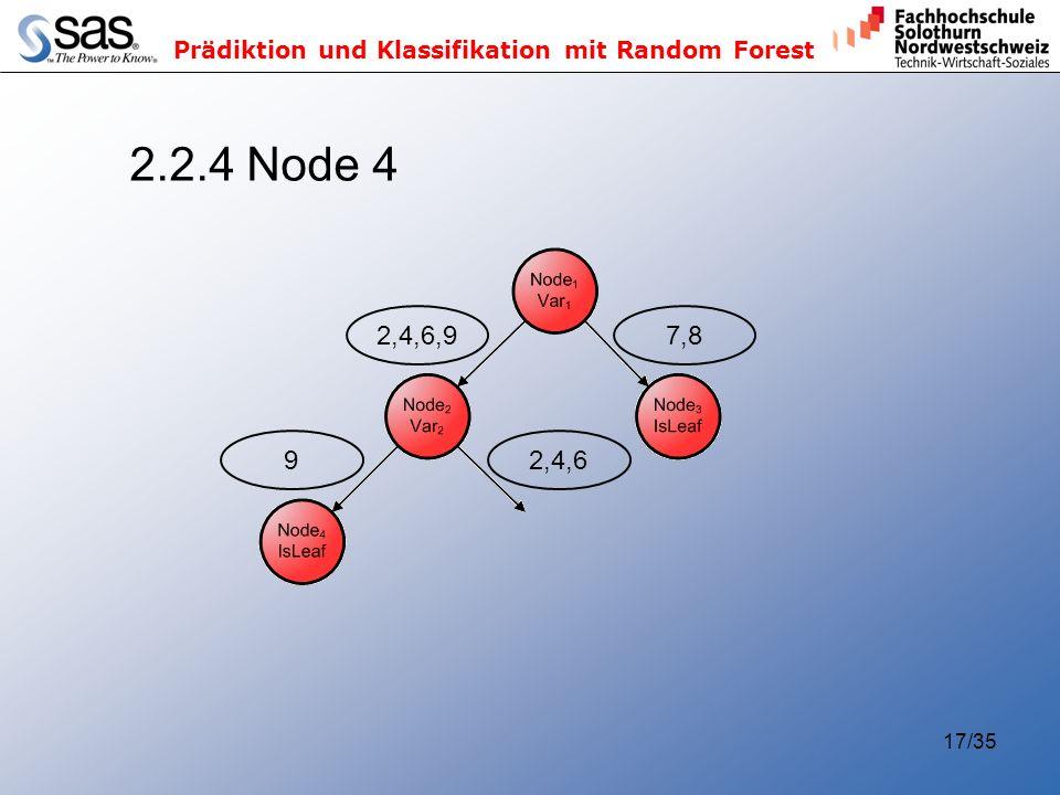 Prädiktion und Klassifikation mit Random Forest 17/35 2.2.4 Node 4 2,4,6,97,892,4,6