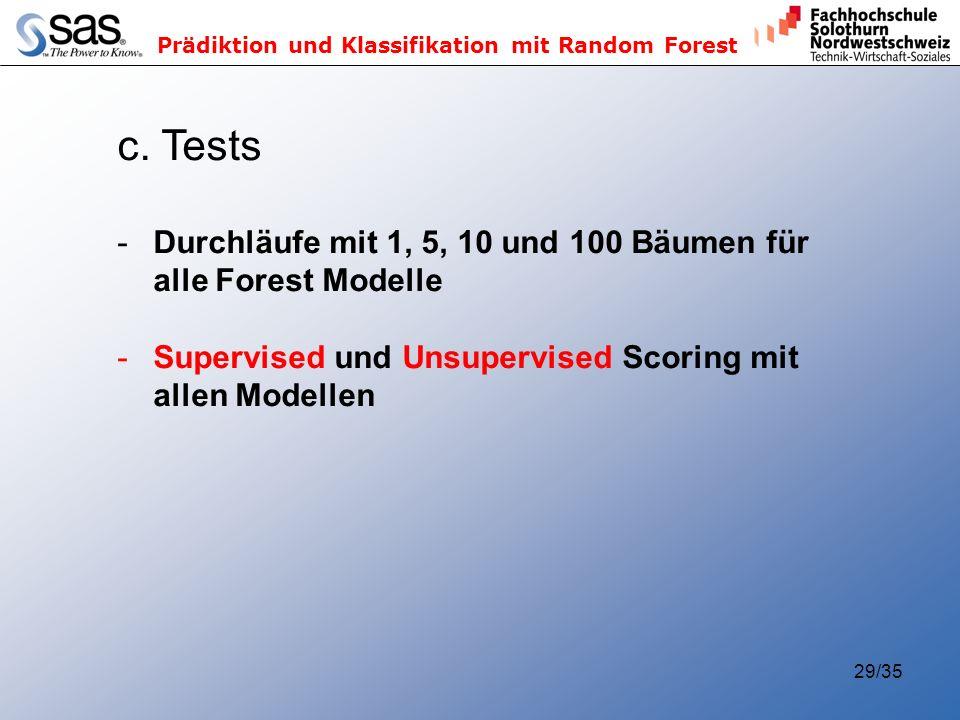 Prädiktion und Klassifikation mit Random Forest 29/35 c. Tests -Durchläufe mit 1, 5, 10 und 100 Bäumen für alle Forest Modelle -Supervised und Unsuper