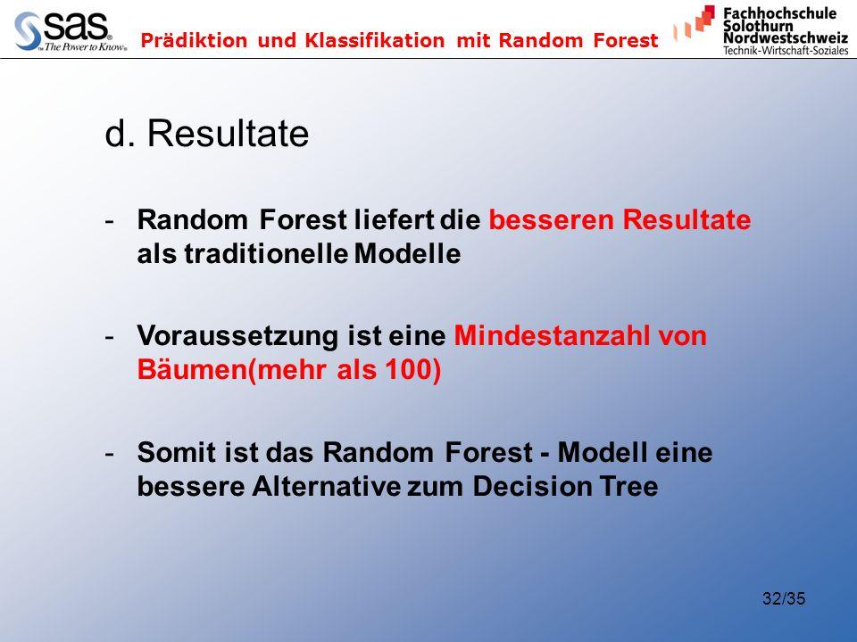 Prädiktion und Klassifikation mit Random Forest 32/35 d. Resultate -Random Forest liefert die besseren Resultate als traditionelle Modelle -Voraussetz
