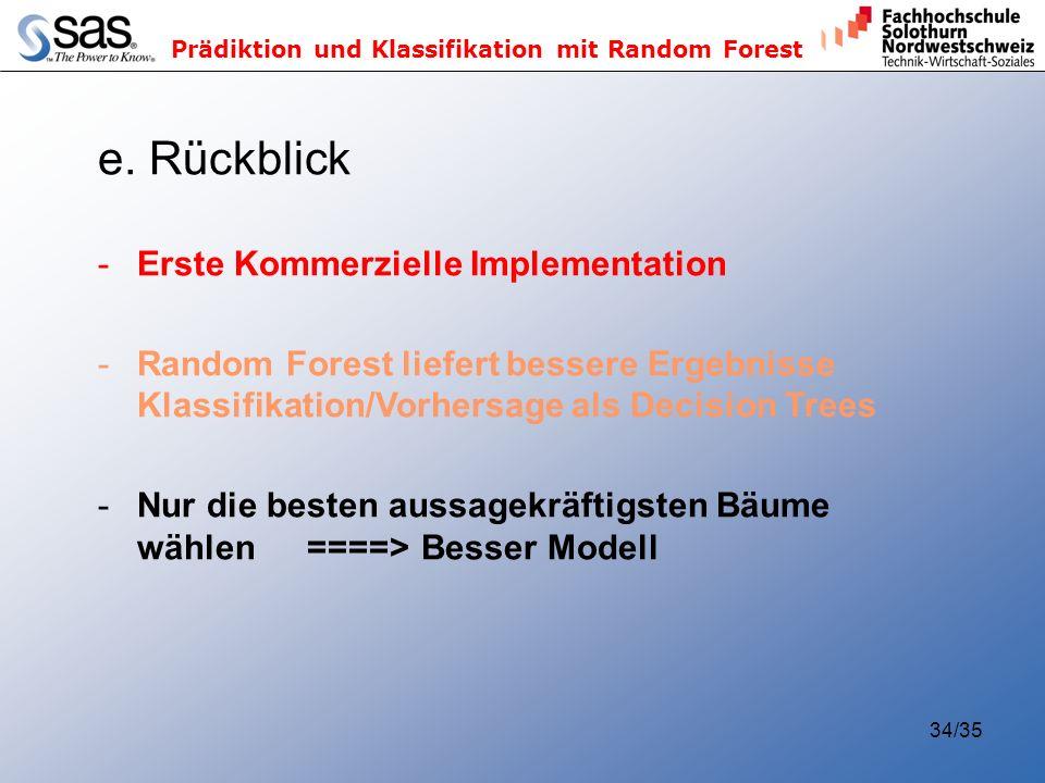 Prädiktion und Klassifikation mit Random Forest 34/35 e. Rückblick -Erste Kommerzielle Implementation -Random Forest liefert bessere Ergebnisse Klassi