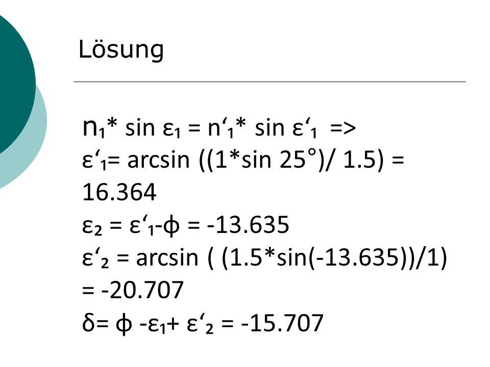 Lösung n * sin ε = n* sin ε => ε= arcsin ((1*sin 25°)/ 1.5) = 16.364 ε = ε-φ = -13.635 ε = arcsin ( (1.5*sin(-13.635))/1) = -20.707 δ= φ -ε+ ε = -15.7