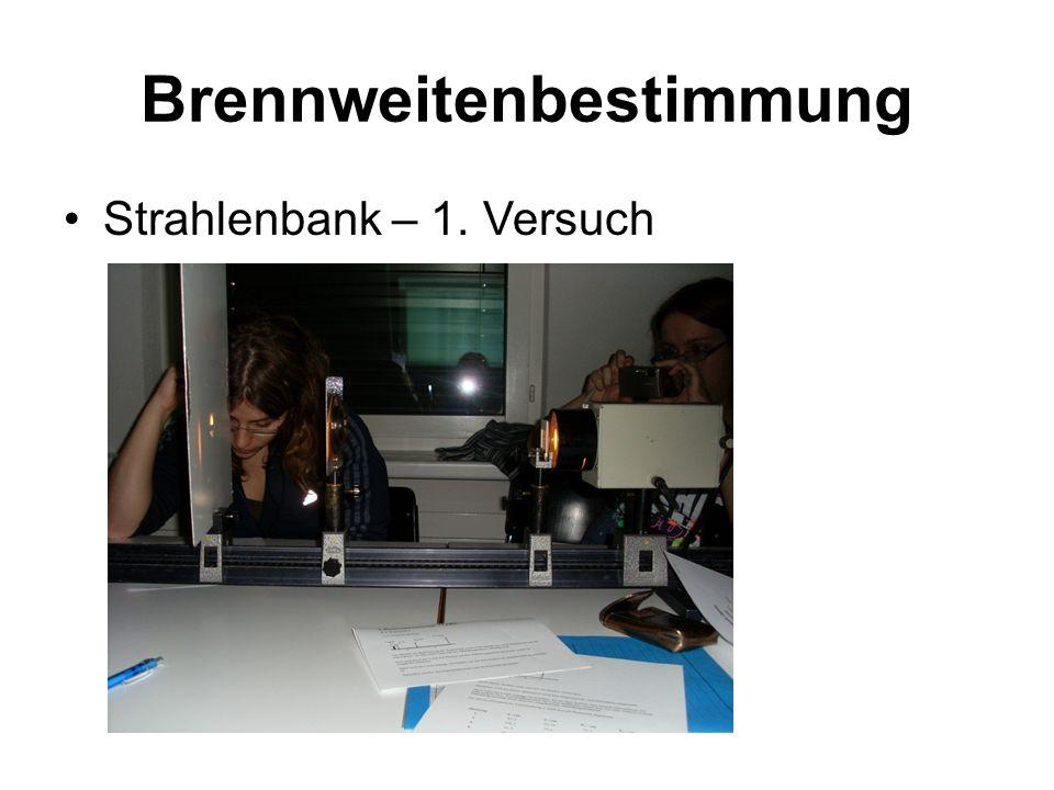 Brennweitenbestimmung Strahlenbank – 1. Versuch