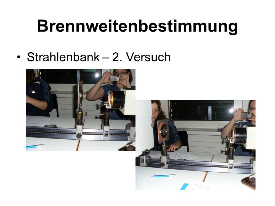 Brennweitenbestimmung Strahlenbank – 2. Versuch