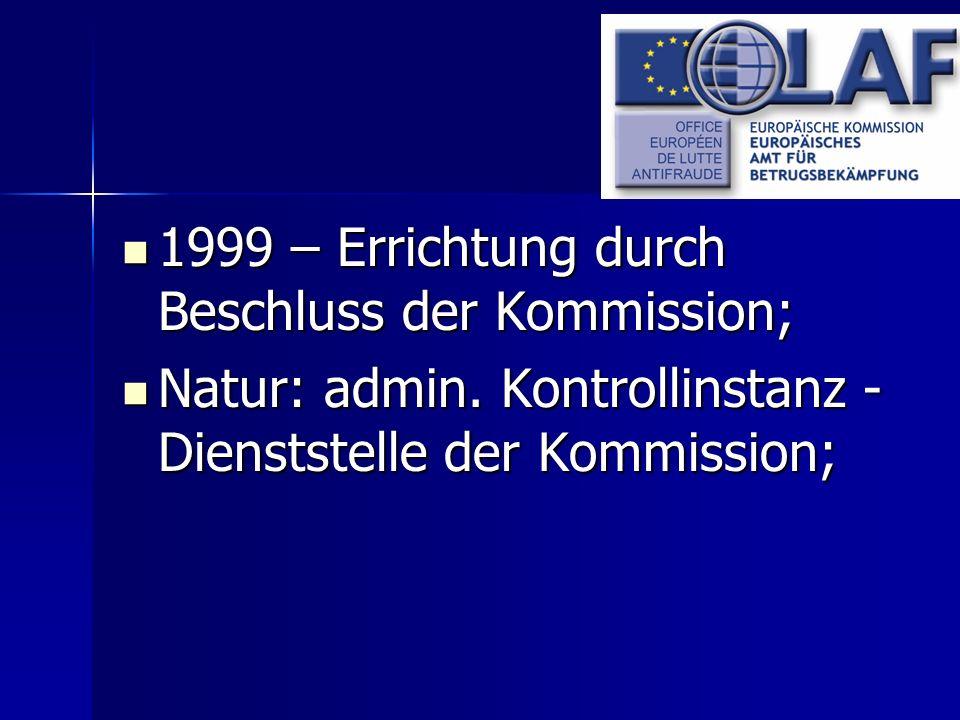 1999 – Errichtung durch Beschluss der Kommission; 1999 – Errichtung durch Beschluss der Kommission; Natur: admin. Kontrollinstanz - Dienststelle der K