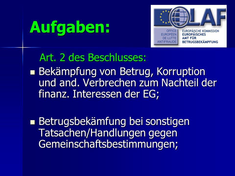 Aufgaben: Art. 2 des Beschlusses: Art. 2 des Beschlusses: Bekämpfung von Betrug, Korruption und and. Verbrechen zum Nachteil der finanz. Interessen de