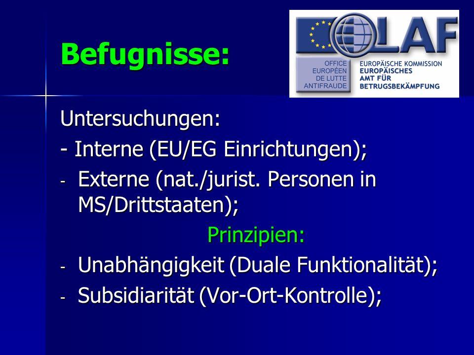 Befugnisse: Untersuchungen: - Interne (EU/EG Einrichtungen); - Externe (nat./jurist. Personen in MS/Drittstaaten); Prinzipien: - Unabhängigkeit (Duale
