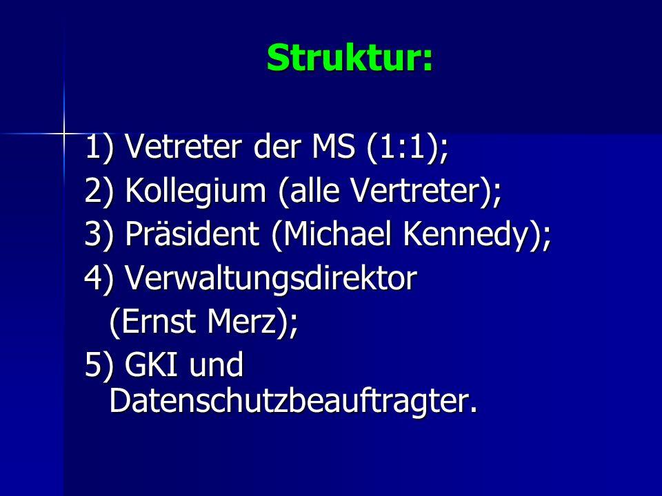 Struktur: 1) Vetreter der MS (1:1); 2) Kollegium (alle Vertreter); 3) Präsident (Michael Kennedy); 4) Verwaltungsdirektor (Ernst Merz); 5) GKI und Dat