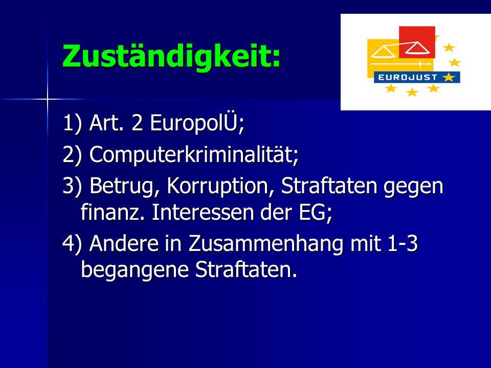 Zuständigkeit: 1) Art. 2 EuropolÜ; 2) Computerkriminalität; 3) Betrug, Korruption, Straftaten gegen finanz. Interessen der EG; 4) Andere in Zusammenha