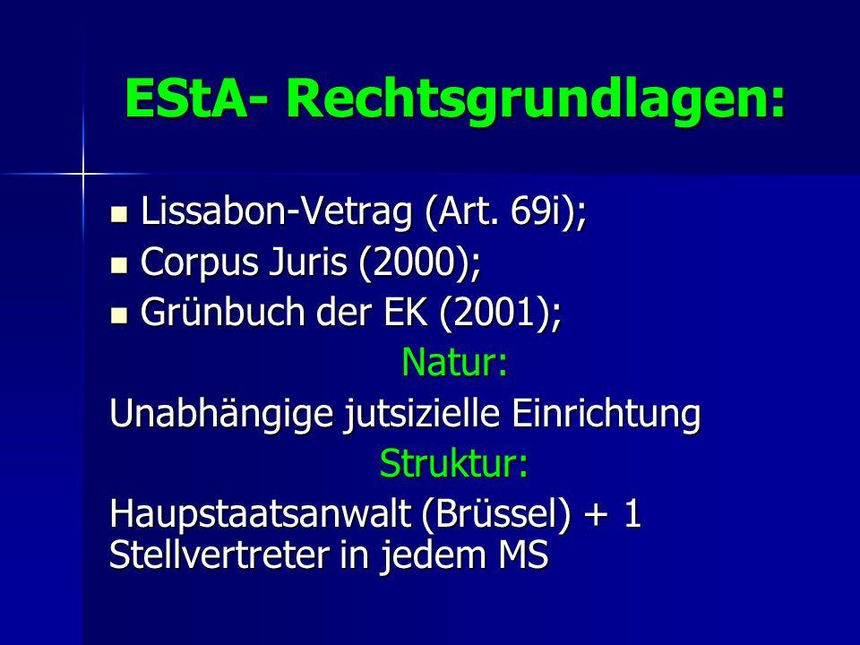 EStA- Rechtsgrundlagen: Lissabon-Vetrag (Art. 69i); Lissabon-Vetrag (Art. 69i); Corpus Juris (2000); Corpus Juris (2000); Grünbuch der EK (2001); Grün