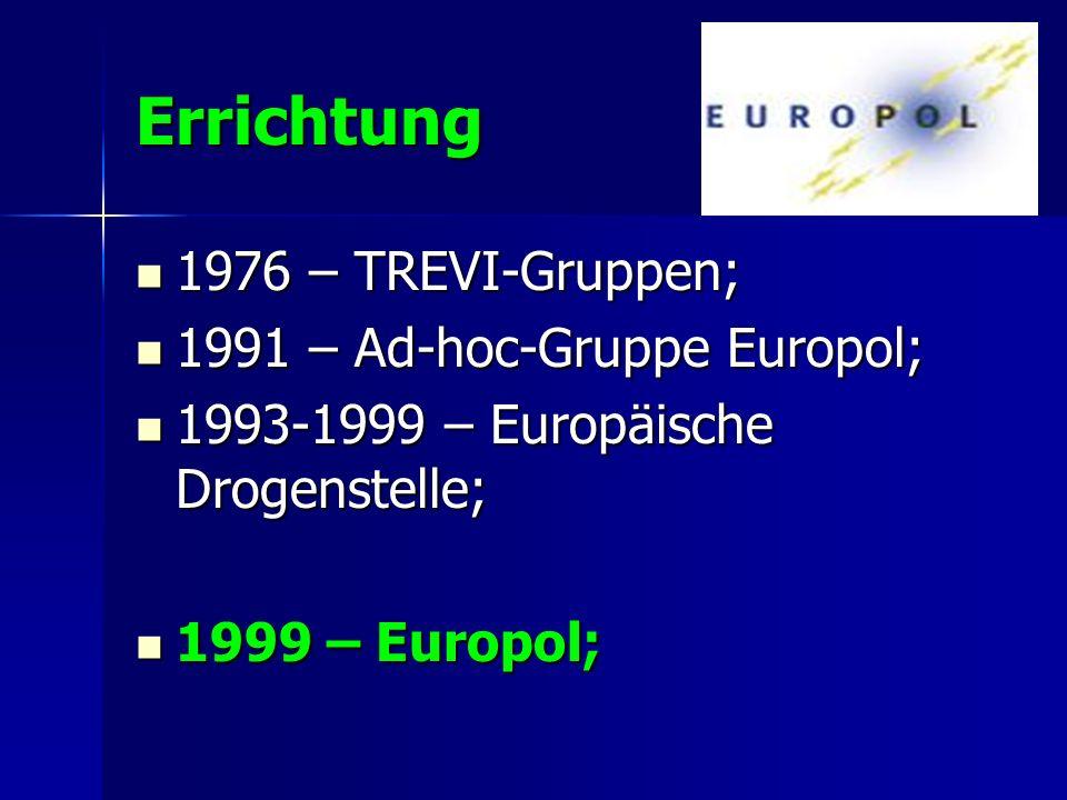 Errichtung 1976 – TREVI-Gruppen; 1976 – TREVI-Gruppen; 1991 – Ad-hoc-Gruppe Europol; 1991 – Ad-hoc-Gruppe Europol; 1993-1999 – Europäische Drogenstell
