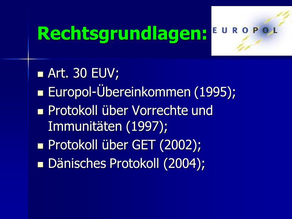 Rechtsgrundlagen: Art. 30 EUV; Art. 30 EUV; Europol-Übereinkommen (1995); Europol-Übereinkommen (1995); Protokoll über Vorrechte und Immunitäten (1997